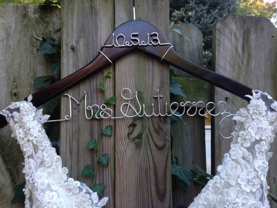 Wedding dress hanger with date bride hanger name hanger for Wedding dress hangers with name