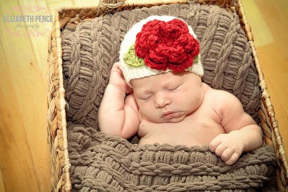 Baby Girl Hat, Crochet Flower hat, Cream and Red