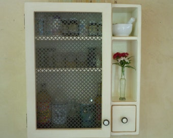 Cabinet- Rustic Wall Cabinet in White Inside and Out with Ornate Sheet Metal Door-  MADE TO ORDER