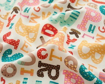 Alphabet Song Cotton Fabric - Ivory - By the Yard 50331