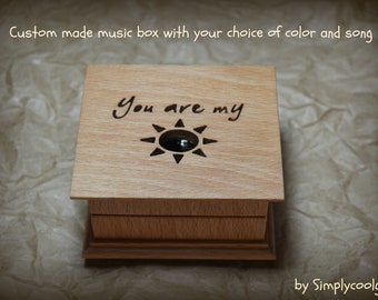 music box, wooden music box, custom made music box, you are my sunshine, personalized music box, music box shop, valentine's day gift