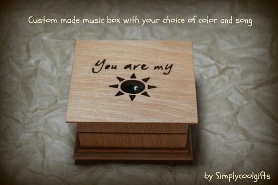 music box, wooden music box, custom made music box, you are my sunshine, personalized music box, musical box, music box shop, xmas gift idea
