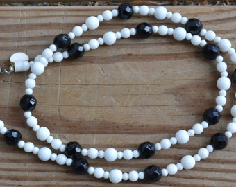 Beautiful antique art deco style czech glass necklace black faceted glass and white milk glass beads