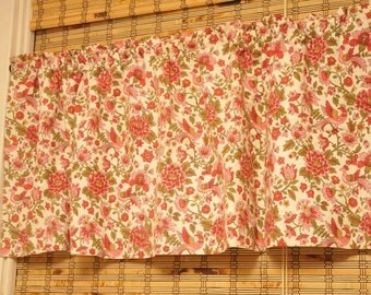 Mid Century Floral Valance Curtain Provincial Birds Red 1960s