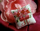 Dollhouse Miniature Pillow - Hot Pink Bouquet