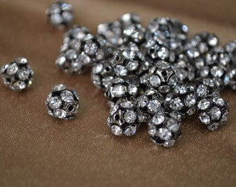 8mm Black & Rhinestone Beads - 8 Pcs.