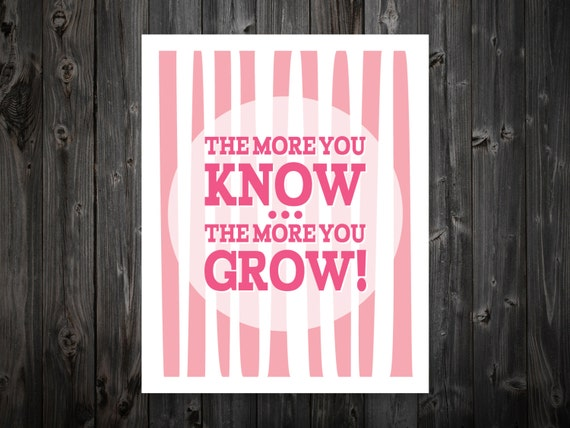 The More You Know The More You Grow Inspiration Typography