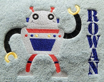 Personalized Robot Hand Towel for Boys, or many other kids hand towels done personalized.