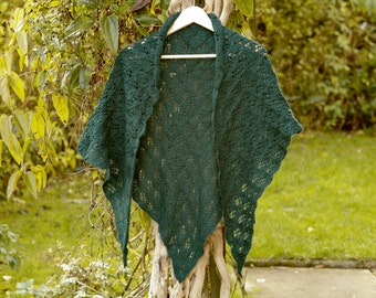 Lacey deep green shawl / wrap
