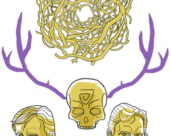 HBO True Detective Marty & Rust Young and Old Yellow King Art Prints