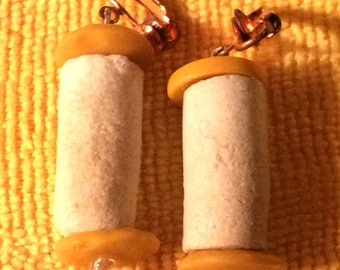 Sale - Vintage Tribal Yellow Disk & White Stone Bead Earrings - Matching Necklace Also Available