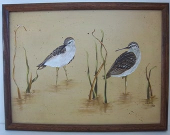 Sandpipers among the Reeds Original Artist Signed Painting on Canvas - Framed Vintage Home Decor