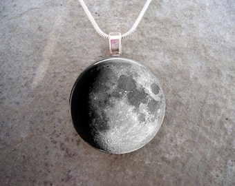 Waxing Gibbous Moon Jewelry - Glass Pendant - Astronomy Necklace