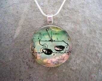 Libra Jewelry - Glass Pendant Necklace - Victorian Horoscope - RETIRING 2017