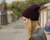Eggplant purple unisex toque knit beanie hat