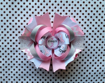 SALE! Ready To Ship Hairbow! Breast Cancer Awareness Hairbow, Pink Ribbon Hairbow, Breast Cancer Hairbow, Boutique Hairbow, Girls Hairbow