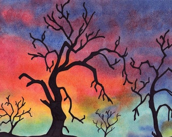 Tree Print ACEO, Colorful Trees Art, Rainbow Trees, 2.5 x 3.5 Inches Print, Art Collector, Art Collection, ACEO Art Print, Tree Artwork