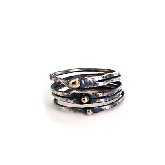 oxidized silver band ring with 14k solid gold balls