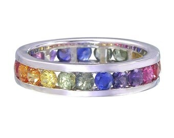 3ct Rainbow Sapphire Multicolor Eternity Band Ring 925 Sterling Silver : SKU R2045-925