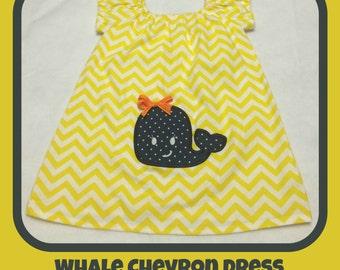 Yellow Chevron Whale Dress