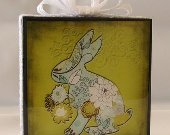 Easter Bunny plaque with white ribbon