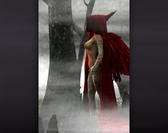 Dark art, dark angel, death, red wings, cloak, shroud, occult art, nude photography, photo manipulation, fantasy art, The Void - The Calling