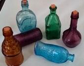 Box of vintage 6 miniature glass bottles. Original box