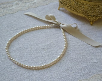 Rosalie: Adult - Beautiful Bride, or Bridesmaid Pearl Necklace - Ivory Pearls with Champagne Ribbon