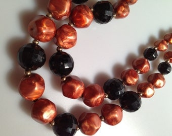 1960s Vintage Double Strand BEADED Necklace AUTUMN Colors