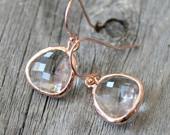 Faceted glass stones earrings with 14k rose gold filled French ear wires, hooks, dangle, framed glass pendants, pink gold