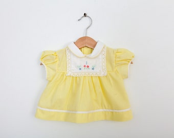 Vintage Baby Dress in Pastel Yellow with Flowers and Lace 0 to 6 months