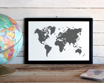 World Map Travel Poster  • Custom Colors Graphic Poster Print 11x17 Size • Choose Your Color Bold Graphic Adventure World Map