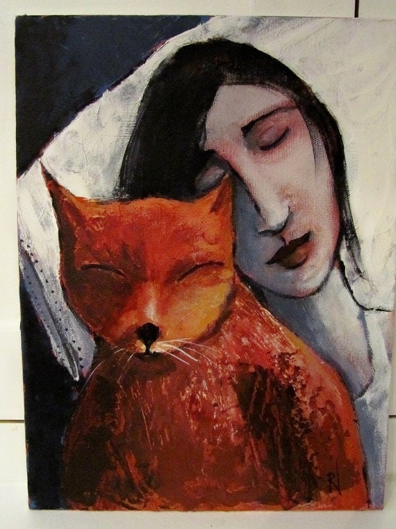 "Art, Original Acrylic Painting, Cat, Female Portrait, Sleeping, 9"" x 12"""
