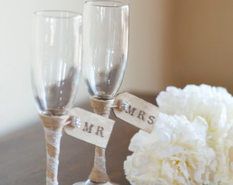 Wedding Toasting Glasses- Mr. and Mrs. Glasses by Burlap and Linen Co
