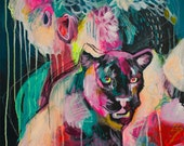 """20 x 20"""" Square Abstract Colorful Panther Painting on Canvas by Julie Robertson"""
