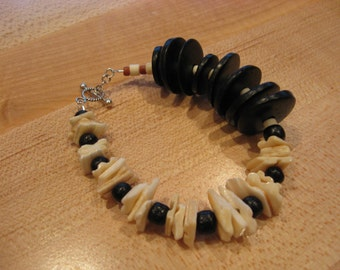Around the World Collection: 925 Sterling Silver Black White Coconut Seed Shell Wood Boho Beach Beaded Bracelet