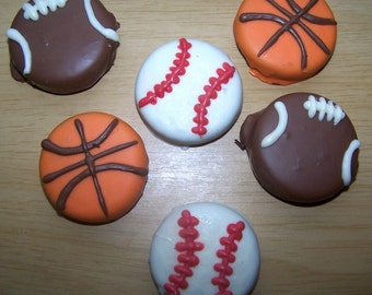 Sports Oreos - Chocolate Covered Oreo Cookies - Oreo Cookies In Chocolate - Chocolate Favors - Baseball, football, basket ball favors
