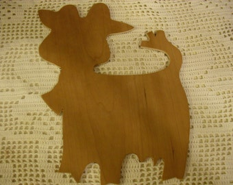 Unfinished Wooden Cut Out of Cow with Bell Wooden Silhouette Cut Out for Craft Projects