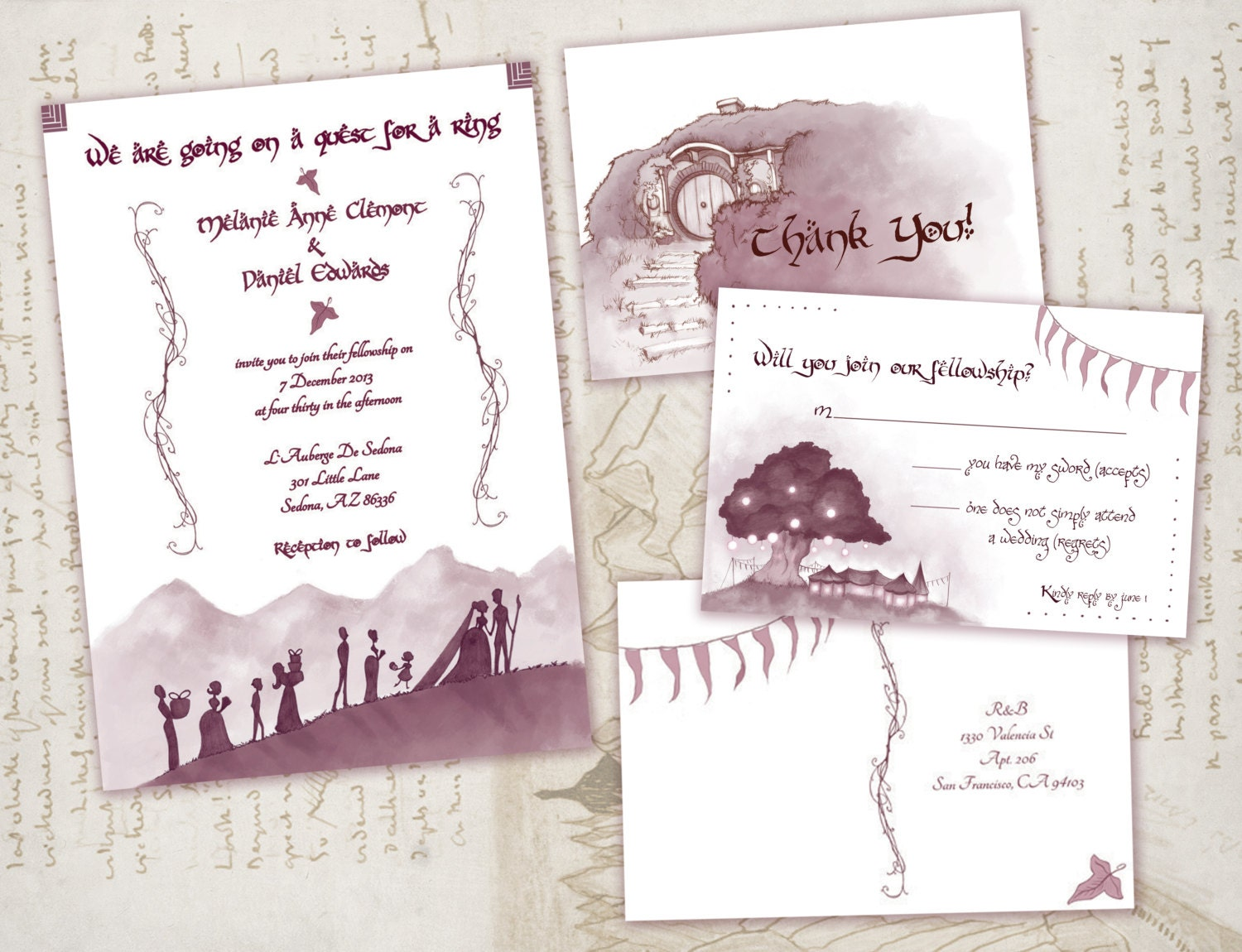 Lord of the rings wedding invitation set by awkwardaffections for Pictures of wedding rings for invitations