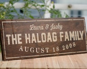 Personalized Family Name Sign Plaque Custom Made 8x22 Solid wood Family sign, wedding or anniversary gift 011d