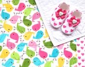 Baby Girl Quilt with Baby Shoes, Birds and Hearts, Girl Baby Blanket, Quilt for Baby, Girl Baby Bedding, Baby Girl Gift Set, READY TO SHIP