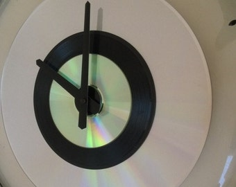 "16"" Drum skin Clock  - 'Evans' Clear Drum skin & ring w/ Laser Disc, 45 record and Cd"