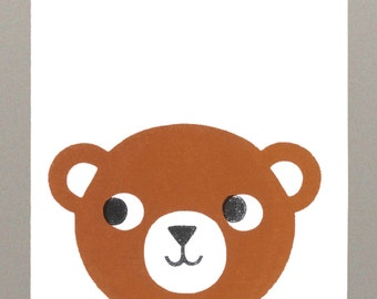 Teddy bear screen printed greeting card