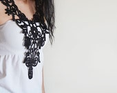 Lace Collar Necklace, Vintage İnspired Lace Necklace, Jewelry Bip Lace Necklace, Black and Silver Sparkle Lace Jewelry