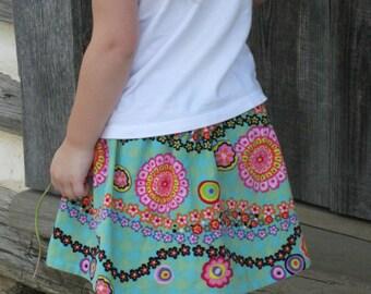 Corduroy Flower Toss Skirt - Toddler Corduroy Twirl Skirt - Girls Corduroy Twirl Skirt - Aqua Corduroy Skirt with Daisy Chain - Fall Skirt