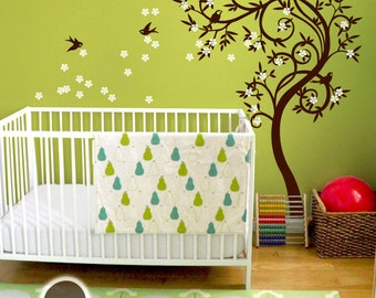 """Baby Nursery Wall Decals - Blossom Tree Decal - Tree Wall Decal - Tree Wall Decals - Tree Wall Decal with Birds - Large: 85"""" x 54"""" - KC030"""