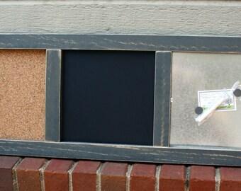 Memo Board - Organizer - Wood Frame - Distressed Wood - Magnetic Board, Chalkboard, Cork Board - Gray