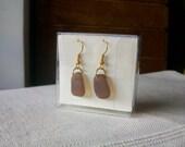Earrings, hand made jewelry, genuine sea glass earrings,gold tone, amber sea glass, gift for her, gift box. (001)
