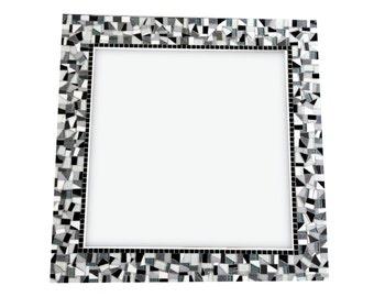 Mosaic Wall Mirror, Square Wall Decor, Black White Gray