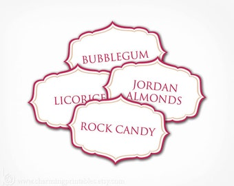 Candy Buffet Labels - Your 2 Colors - PRINTABLE - Elegant Candy (Dessert, Popcorn, Snack, Ice Cream, Cookie...) Buffet Labels